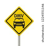 Visit to the DMV Highway Warning Sign, Icon of a car and text DMV on a yellow highway sign isolated over white 3D Illustration