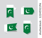 pakistani flag stickers and... | Shutterstock .eps vector #1224552196
