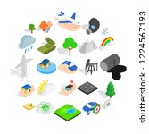 flammable icons set. isometric... | Shutterstock .eps vector #1224567193