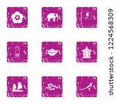 online asia icons set. grunge... | Shutterstock .eps vector #1224568309
