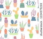 seamless vector pattern. cactus ...   Shutterstock .eps vector #1224575233
