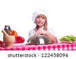 beautiful cook woman hold a... | Shutterstock . vector #122458096