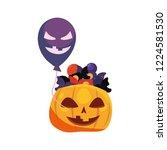halloween pumpkin abd balloon... | Shutterstock .eps vector #1224581530