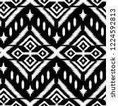 seamless black and white ikat... | Shutterstock .eps vector #1224592813