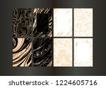 set of vector black and gold... | Shutterstock .eps vector #1224605716