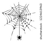black thin neat web with small... | Shutterstock . vector #1224613963