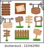 set of vintage wooden... | Shutterstock . vector #122462983