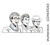 pop art retro men in black and... | Shutterstock .eps vector #1224635263