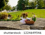 wedding basket with fruit and a ... | Shutterstock . vector #1224649546