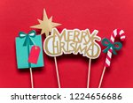 christmas photo booth props on...   Shutterstock . vector #1224656686