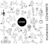 black and white cartoon...   Shutterstock .eps vector #1224658870