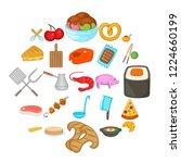 roast icons set. cartoon set of ... | Shutterstock .eps vector #1224660199