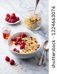 healthy breakfast. fresh... | Shutterstock . vector #1224663076