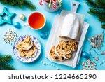 christmas stollen cake with... | Shutterstock . vector #1224665290