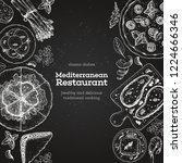 mediterranean food. top view... | Shutterstock .eps vector #1224666346