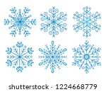 hand drawn snowflake collection.... | Shutterstock .eps vector #1224668779