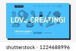 creative agency office landing... | Shutterstock .eps vector #1224688996