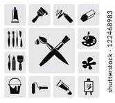 vector black art icons set on... | Shutterstock .eps vector #122468983