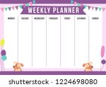 cute weekly planner with drawn... | Shutterstock .eps vector #1224698080