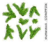 set of fir branches. christmas... | Shutterstock . vector #1224699106