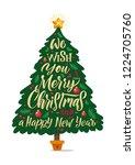 christmas tree silhouette.... | Shutterstock .eps vector #1224705760