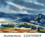 watercolor landscape with... | Shutterstock . vector #1224705829