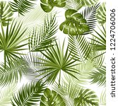 tropical jungle palm leaves... | Shutterstock .eps vector #1224706006