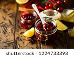 homemade cherry jelly with... | Shutterstock . vector #1224733393