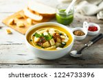 pumpkin soup with cream and... | Shutterstock . vector #1224733396