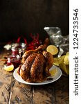 roast chicken with red berry... | Shutterstock . vector #1224733546