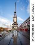 vintage crane and reflection at ... | Shutterstock . vector #1224735229