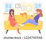 two girls are sitting on the... | Shutterstock .eps vector #1224745546