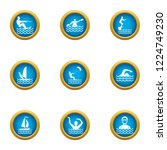 swimming in water icons set.... | Shutterstock . vector #1224749230