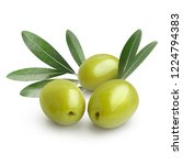 ripe green olives with leaves ... | Shutterstock . vector #1224794383