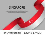 waving ribbon with flag of... | Shutterstock .eps vector #1224817420