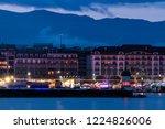 geneva lighthouse and city... | Shutterstock . vector #1224826006