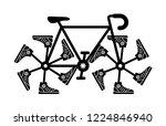 running shoes on bike wheel... | Shutterstock .eps vector #1224846940