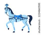 blue carousel  circus horse or... | Shutterstock .eps vector #1224860500