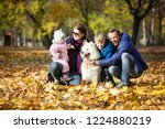 happy family of four on walk...   Shutterstock . vector #1224880219