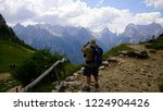 hikers enjoy the view from an... | Shutterstock . vector #1224904426