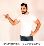 bodybuilder man poses in studio ... | Shutterstock . vector #1224913249