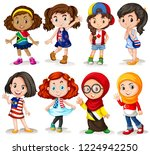 set of international girl ... | Shutterstock .eps vector #1224942250