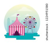 ferris wheel and tent circus...   Shutterstock .eps vector #1224951580