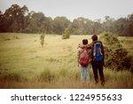 group asian backpack travel... | Shutterstock . vector #1224955633