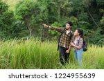 group asian backpack travel... | Shutterstock . vector #1224955639