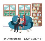 parents couple with daugether... | Shutterstock .eps vector #1224968746