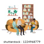 parents couple with son sitting ... | Shutterstock .eps vector #1224968779