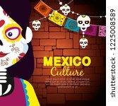 catrina with skull banner...   Shutterstock .eps vector #1225008589