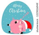 merry christmas. pig. 2019. new ... | Shutterstock .eps vector #1225026949
