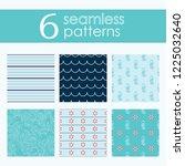 set of six vector seamless...   Shutterstock .eps vector #1225032640